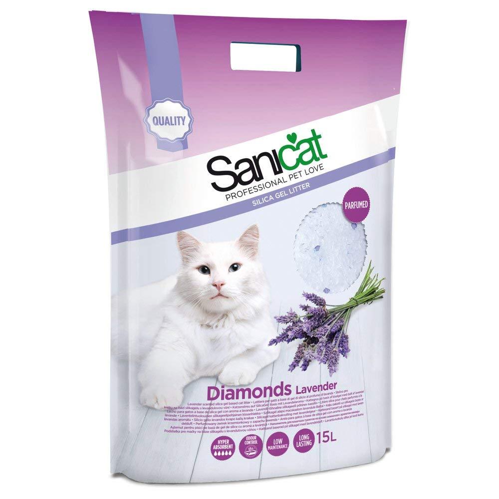 Cát vệ sinh cho mèo Sanicat thuỷ tinh Lavender 15L