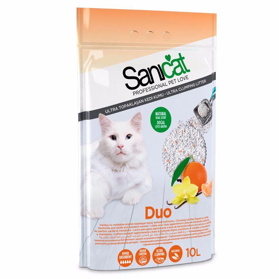 Cát vệ sinh cho mèo Sanicat dạng sỏi hương quýt vani 10L