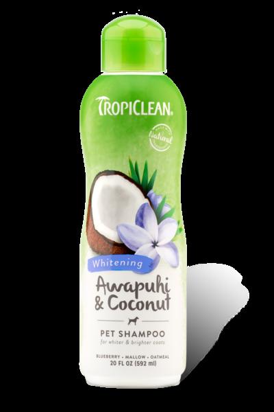 Dầu gội Tropiclean giúp lông trắng và sáng màu chiết xuất từ cây awapuhi và dừa 355ml