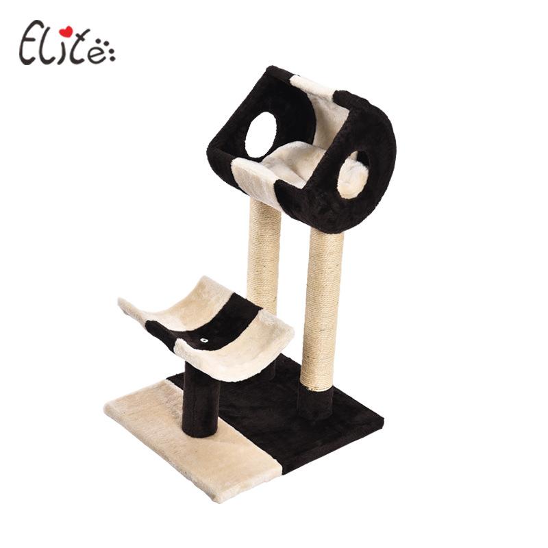 Trụ mèo cào 2 tầng trắng đen elite (45x45x75)cm